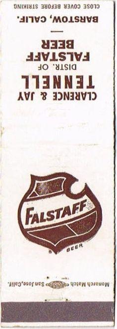 Matchcovers Falstaff Beer Falstaff Brewing Corporation Plant #1 Saint Louis Missouri United States of America
