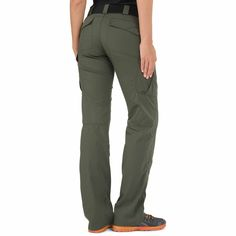 5.11 Tactical Women's Stryke Pants- I love these pants! Would wear them for just about anything. The only weak point I found so far is the back pocket bag stitch-through. You get a total range of motion in these pants and all of the structural seams are rock solid but my butt ripped the back pocket bag stitch through during duck walks :)