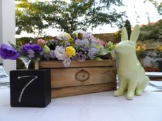 Glam Baby South Africa - Vintage Bunny Theme for Christening centrepiece. Vintage wine box, ceramic bunny.