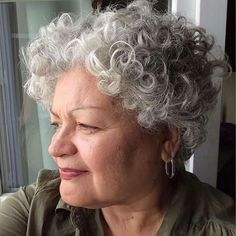 We have a better decision: 65 gray hair styles that you will wear with pride. For all hair lengths, textures and styles. Short Permed Hair, Short Curly Hairstyles For Women, Grey Curly Hair, Silver Grey Hair, Short Grey Hair, Curly Hair Cuts, Permed Hairstyles, Curly Hair Styles, Gray Hair