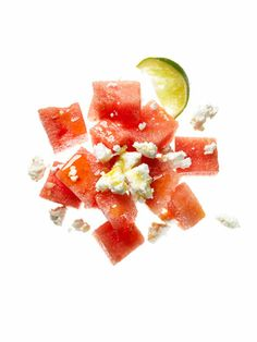 Low-calorie snack: 1 cup cubed watermelon and 1 oz Feta crumbles drizzled with ½ tsp olive oil and ½ tsp lime juice    141 calories, 9 g fat