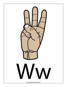 Letter W-Filled-With Label Sign Language Letters, Alphabet Signs, Diy Busy Books, Hand Signals, Letter W, Free Printables, Homeschooling, Worksheets, Encouragement