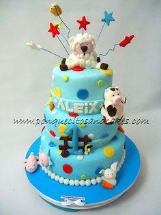 Tarta de 1º cumpleaños!!!   Animalitos de la granja para Aleix