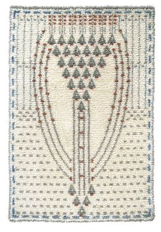 Eva Mannerheim-Sparre woven ryijy cloth rug from wool & linen. Size 110 cm x 160 cm. Rya Rug, Wool Rug, Art Textile, Textile Patterns, Art Nouveau, Scandinavian Embroidery, Applique Quilts, Rug Hooking, Handmade Crafts