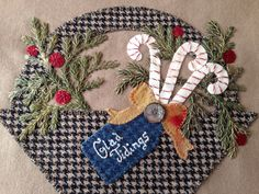 """Wool Appliqué. """" Glad Tidings"""" Basket 4 close up from Pretty Penny Precuts."""