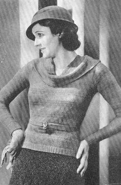 Vintage 1930s Smart 3 Piece Boucle Suit Knitting Pattern PDF 3210