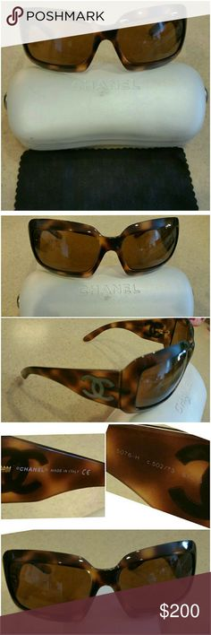 Genuine Tortoise Chanel Sunglasses w/ Pearl CC Gorgeous CHANEL Glasses!  Gently worn. Does have a couple very small scratches on lense that no one will notice, and will not affect your vision. Serial number etched in right lense.  These come with original White CHANEL Hard Case and Original CHANEL cloth. Please see pictures for more detail.  Retail cost 495.00 CHANEL Accessories Glasses