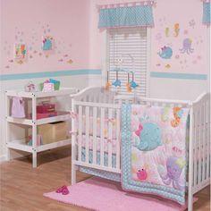 Ocean Animals Sea Creatures Baby Girls Nursery 3 Piece Infant Crib Bedding Set #Belle