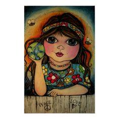 Shop Peace, Love and Flower Power Poster created by popartminis. Hippie Peace, Hippie Love, Hippie Chick, Hippie Things, Hippie Girls, Gypsy Girls, Happy Hippie, Decoupage, Feelin Groovy