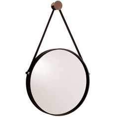 Round mirror with black iron frame is accented with polished nickel hardware. Mirror hangs from a black leather strap and a polished nickel finish metal nob.