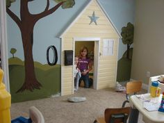 LOVE the idea of turning the closet into a playhouse in a kids play room! - well, cool idea if our closet was bigger ;)