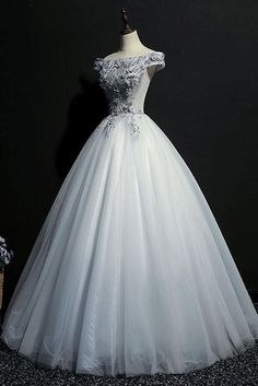 Beautiful Tulle Off Shoulder Grey Formal Gowns, Grey Party Dress Party Gowns Grey Party Dresses, Grey Evening Dresses, Ball Gown Dresses, Party Gowns, Dance Dresses, Prom Dresses, Pretty Dresses, Beautiful Dresses, Masquerade Gown