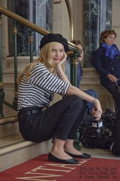 classic french style: beret and black and white stripes