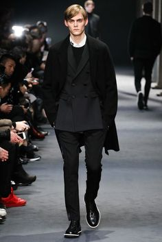 Neil Barrett Fall 2015 Menswear - Collection - Gallery - Style.com double-breasted under top coat