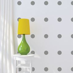 "$15 for 32 3"" white polka dots http://wallsneedlove.com/products/3-polka-dot-wall-decals"