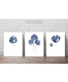 Peony Watercolour Painting, Navy Paper Flower set of 3 Flowers Art Print, Blue Floral Living Room Decoration, Gifts for Her Birthday Poster by ColorWatercolor on Etsy https://www.etsy.com/listing/513313503/peony-watercolour-painting-navy-paper
