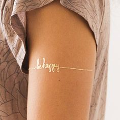 "This encouraging handwritten reminder is designed to look like a bracelet, but it can be worn just about anywhere! These temporary tattoos are safe and non-toxic, lasting on average 2-4 days. We suggest placing on oil-free areas where skin does not stretch and keep them clean!  Size: 6"" x 1.5"" (set of 2 tattoos)"