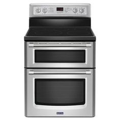 Buy the Maytag Stainless Steel Direct. Shop for the Maytag Stainless Steel 30 Inch Wide Cu. Freestanding Electric Double Oven Range with EvenAir True Convection with Third Element from the Gemini Series and save. Double Oven Electric Range, Electric Stove, Double Ovens, Stainless Steel Double Oven, Gemini, Gas Oven, Oven Cleaning, Four, How To Cook Pasta