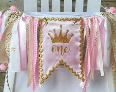 Pink and Gold High Chair Banner Can Be Used von GigglesandWiggles1