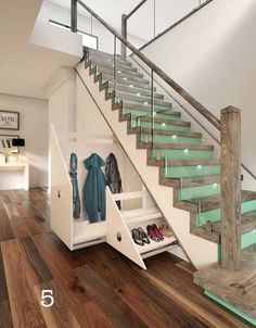 44 Wonderful Glass Staircase Ideas - Decoration For Home Staircase Storage, Stair Storage, Staircase Design, Staircase Ideas, Stair Design, Railing Ideas, Modern Staircase, Flooring For Stairs, Basement Stairs