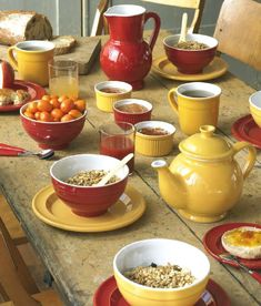 Country table, I like the red & yellow together