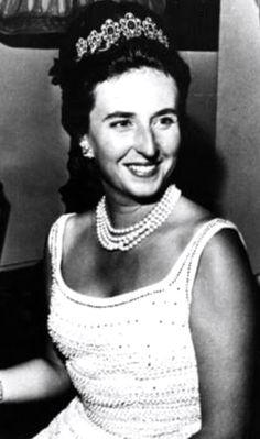 Infanta Pilar wearing the Sapphire and Diamond Tiara, Spain.
