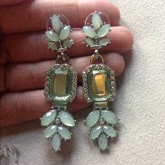 ✨ NEW ✨ Mint Earrings Mint jeweled earrings. Gorgeous, light-weight, and hypo-allergenic. Drop length is a little over 2 inches. Jewelry Earrings