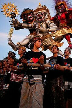 Ogoh-ogoh Parade, Bali, Indonesia. Ogoh-ogoh are statues built for the Ngrupuk parade, which takes place on the eve of Nyepi day in Bali, Indonesia.