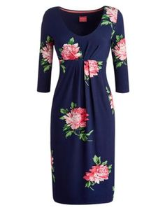 Joules Women's Below The Knee Dress, French Navy Peony.                     Our best seller is back! If you're looking for a midi length dress, cut to sit below the knee then look no further.  In our signature stripes or statement floral and crafted from soft jersey this dress, with a wide, higher neck line, it's sure to be a go-to favourite.