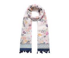 Blue/multi floral tassel fringed scarf