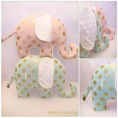 The Personalized Metallic Polka Dots Elephant Pillow!    A gorgeous mint green OR pink fabric with metallic gold polka dots is paired with a super soft