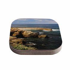 Kess InHouse Nick Nareshni 'Ocean Jetty' Blue Coasters