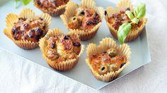 Glutenfrie matmuffins med oliven og soltørket tomat