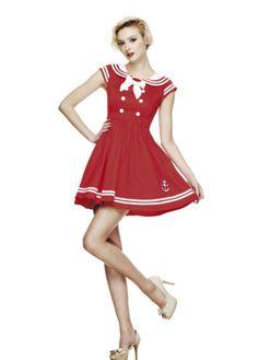 Red lolita/rockabilly sailor style dress.