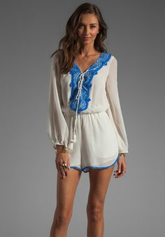 RENZO + KAI Embellished Silk Peasant Romper in White/Ocean coveting this piece...
