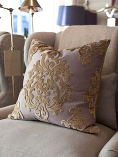 AMERICAN.  Gorgeous cut velvet faced throw pillow handmade in Georgia.H  22.00  W  22.00  D  8.00