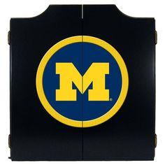 Michigan Wolverines Dart Board Cabinet