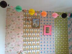 mix of wallpaper, who knew! Tissue Paper Decorations, Ball Decorations, Girl Bedroom Walls, Bedroom Decor, Motif Vintage, Vintage Fabrics, Olive Bedroom, Paper Balls, Little Girl Rooms