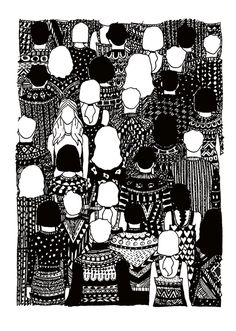 Black Pen & Ink Drawing - Christmas Sweater Crowd- Art Illustration Ink Pen Art, Ink Pen Drawings, Illustration Art Drawing, Ink Illustrations, Black And White Art Drawing, Black Pen Drawing, Black Ink Art, Black And White Sketches, Black And White Illustration