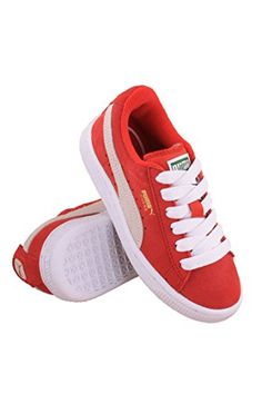 PUMA Suede Junior Sneaker (Little Kid/Big Kid) , High Risk Red/White, 3.5 M US Big Kid * Find out more about the great product at the image link.