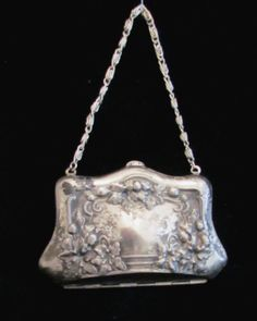 Victorian Silver Compact Purse 1900s Coin by PowerOfOneDesigns