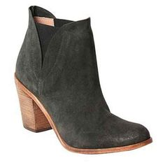 Hoss Intropia Oscuro Bootie (€305) ❤ liked on Polyvore featuring shoes, boots, ankle booties, dark khaki, pull on ankle boots, ankle boots, short leather boots, bootie boots and slip on ankle boots