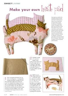 Kitty Heat pad from Sweet Living magazine Issue 2 - diy - Crafts Sewing Hacks, Sewing Tutorials, Sewing Patterns, Sewing Tips, Dress Patterns, Sewing Ideas, Homemade Gifts, Diy Gifts, Food Gifts