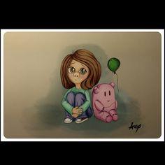 Green Balloon! (ballpoint pen, colored in photoshop) #green #balloon #girl #creature #pink #drawing #illustration  #digitalart #fabercastell #ballpointpen