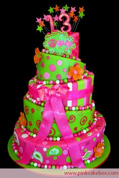 Cakes Among Teenage Girls Is The 13th Birthday Topsy Turvy Cake We