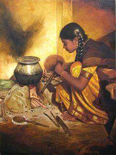 Artist S Elayaraja's Cooking Girl Painting Online. Yellow oil Painting by S Elayaraja on Canvas, Figurative based on theme Elayaraja Paintings. Indian Women Painting, Indian Art Paintings, Classic Paintings, Indian Artist, Cool Paintings, Beautiful Paintings, Paintings Famous, Acrylic Paintings, Realistic Oil Painting