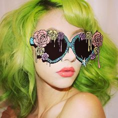 "Chartreuse lime coloured hair - crazy sunglasses ""The heart of the jungle. Pink Lady, Visual Kei, Steam Punk, Soft Grunge, Pin Up, The Blues Brothers, Piercings, Coloured Hair, Kawaii"