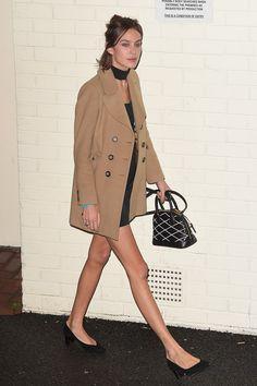 Alexa Chung in a camel coat and Sarah Flint heels. X Factor studios, London, November 14 2015