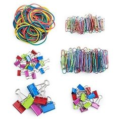 Colored Binder Clips Paper Clamps Rubber Bands Home Office School Supplies Pack #OfficeSupplies