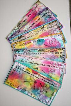 De Stempelwinkel - Designteam      : Verjaardagskaarten / birthdaycards. Doodle Art Journals, Art Journal Pages, Art Journaling, Mixed Media Journal, Mixed Media Art, Art Trading Cards, Fusion Art, Gelli Printing, Atc
